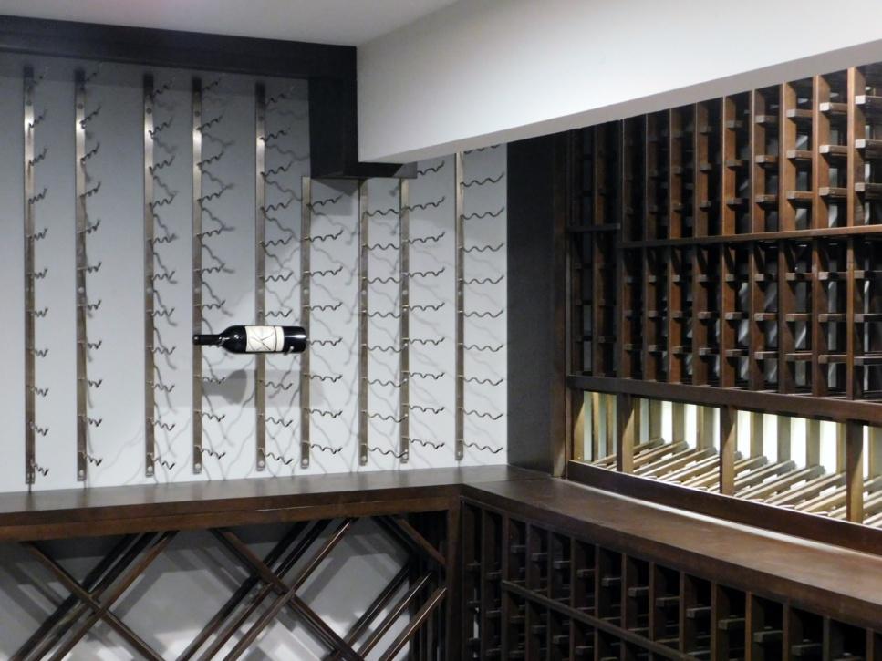 Hills california home wine cellar with wood and metal wine racks