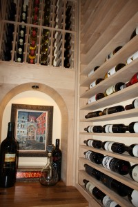 Horizontal racking holds 750 size bottles above the tabletop level