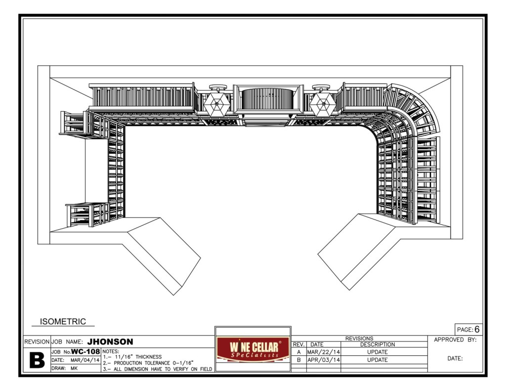 Florida Home Wine Cellar Project Design Drawing