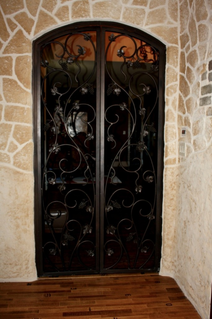 Flower Mound Texas custom wrought iron gate entrance to the wine tasting room