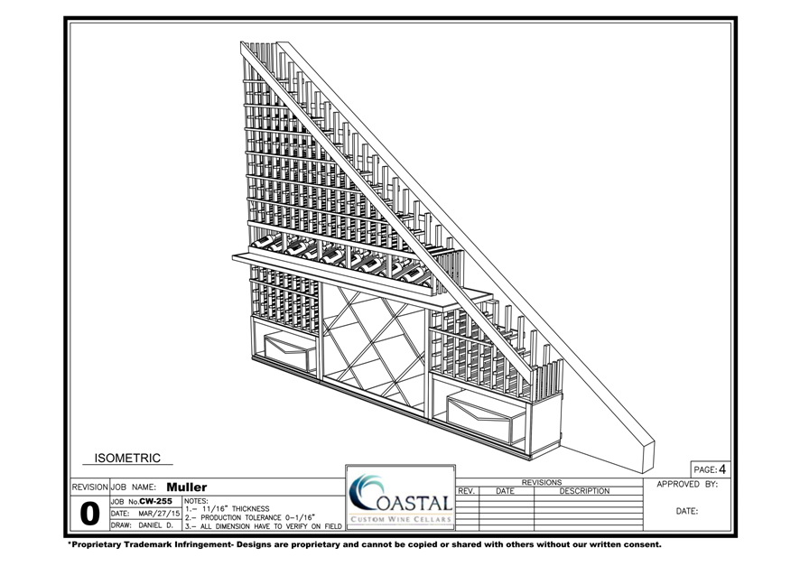 Playa Vista Under stair wine cellar blueprint