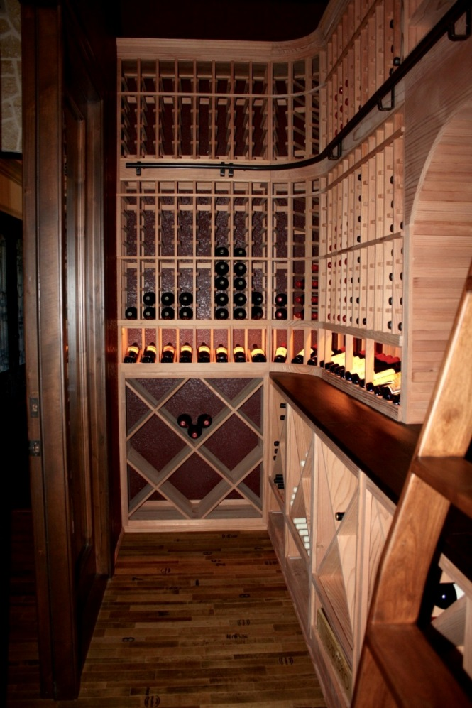 left wall racking Flower Mound Texas home wine cellar