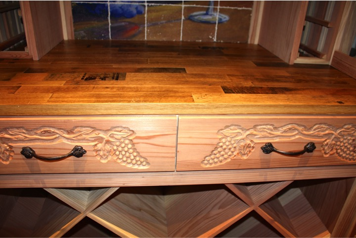 Custom Wine Cellar Designed Drawers and Cooperage Tabletop and Racking