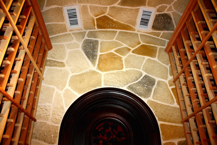 Custom Wine Cellar with Stone Walls and Ceiling Texas Installation Project