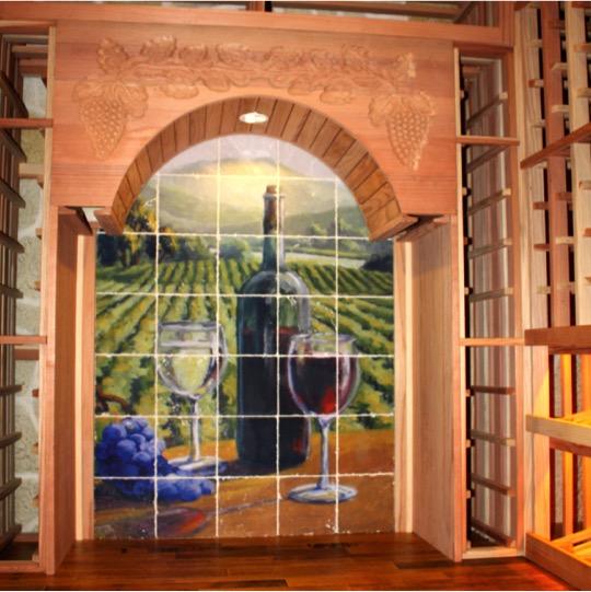 Texas Wine Cellar Prokect Back Wall Wine Racks with Tile Mural