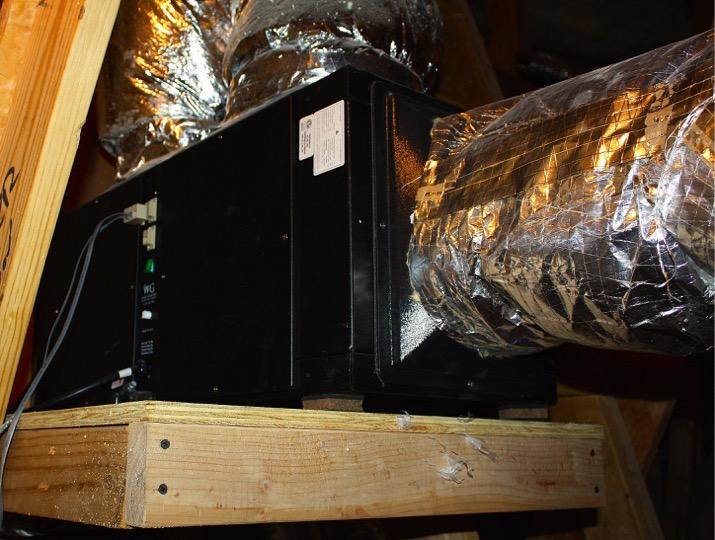 Wine Guardian Refrigeration Unit in Attic Texas Wine Cellar