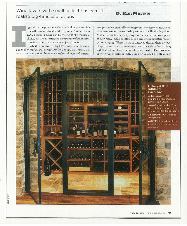 Gilliand Wine Cellar California Project Featured in Wine Spectator