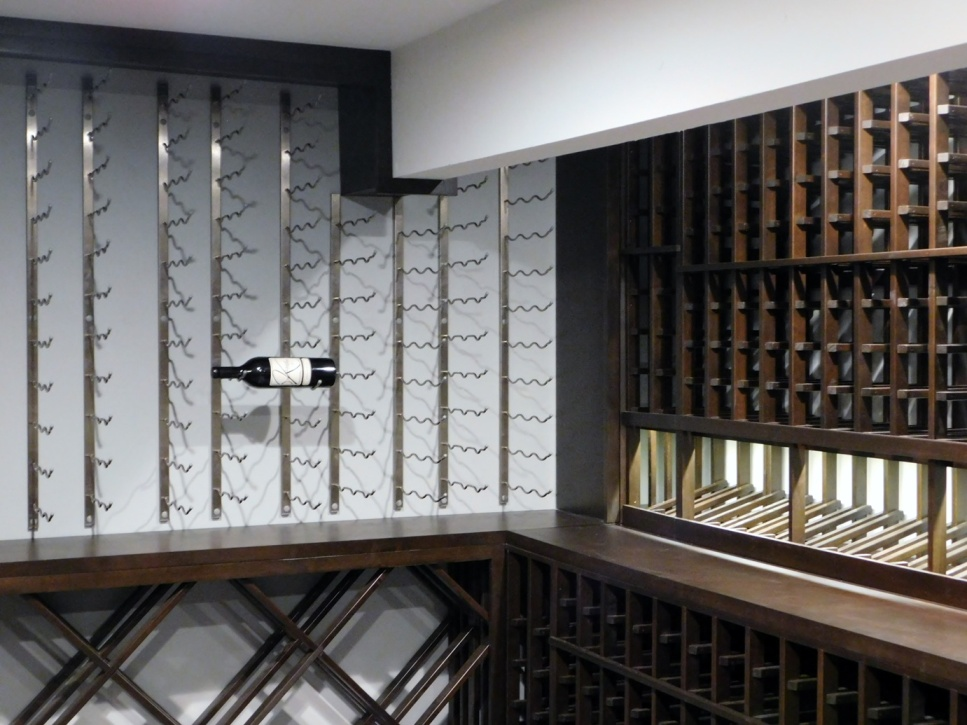 Anaheim Hills California Home Wine Cellar with Wood and Metal Wine Racks