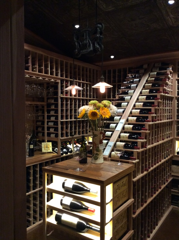 waterfall wine rack design Ramona California wine cellar project