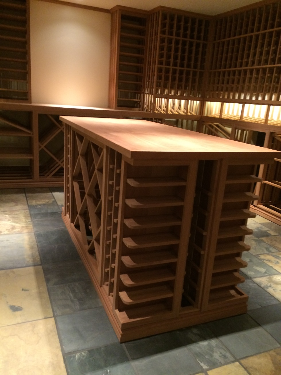 Custom Centre Island of Sapele Mahogany Wine Cellar
