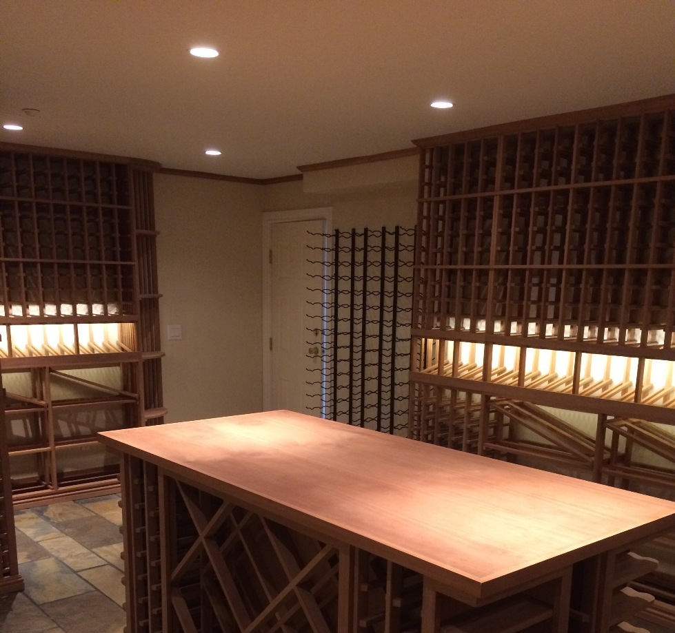 Custom Sapele Wine Cellar with Vintage View Wine Racking