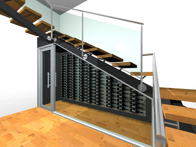 Dallas Contemporary Wine Display Under the Stairs 3D Drawing