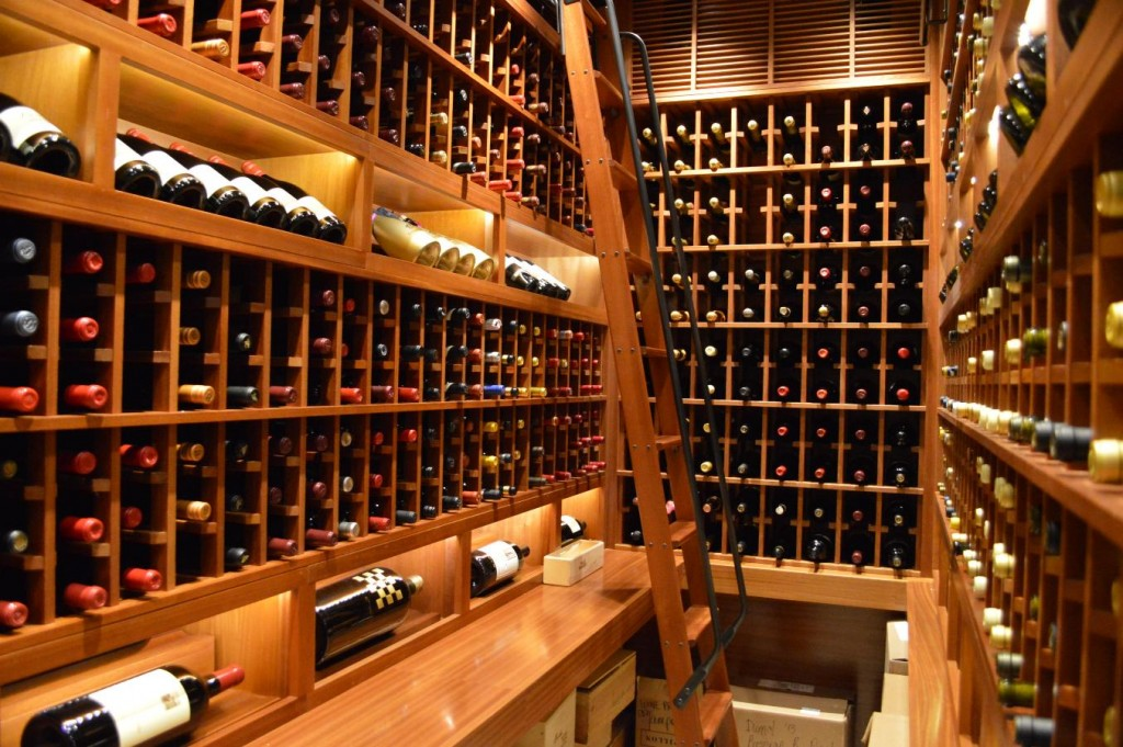 Home Wine Cellar San Diego with Hook Rolling Ladder