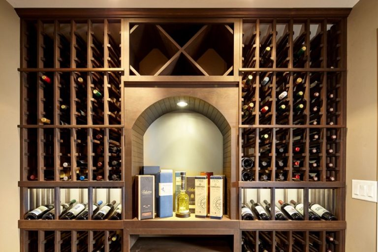 Wine Cellar Lighting Above Archway and Display Row