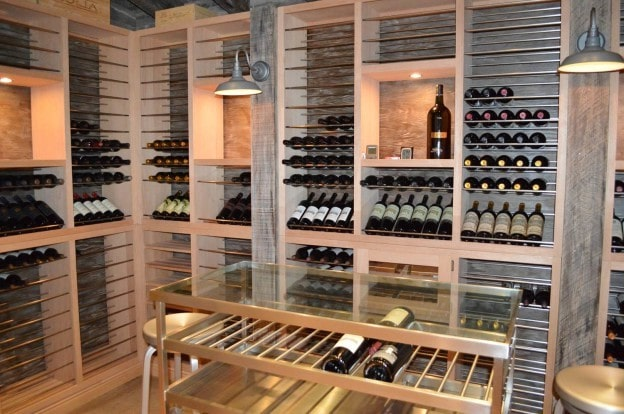 Residential Wine Cellar Equipped with a Split Cooling System by US Cellar Systems