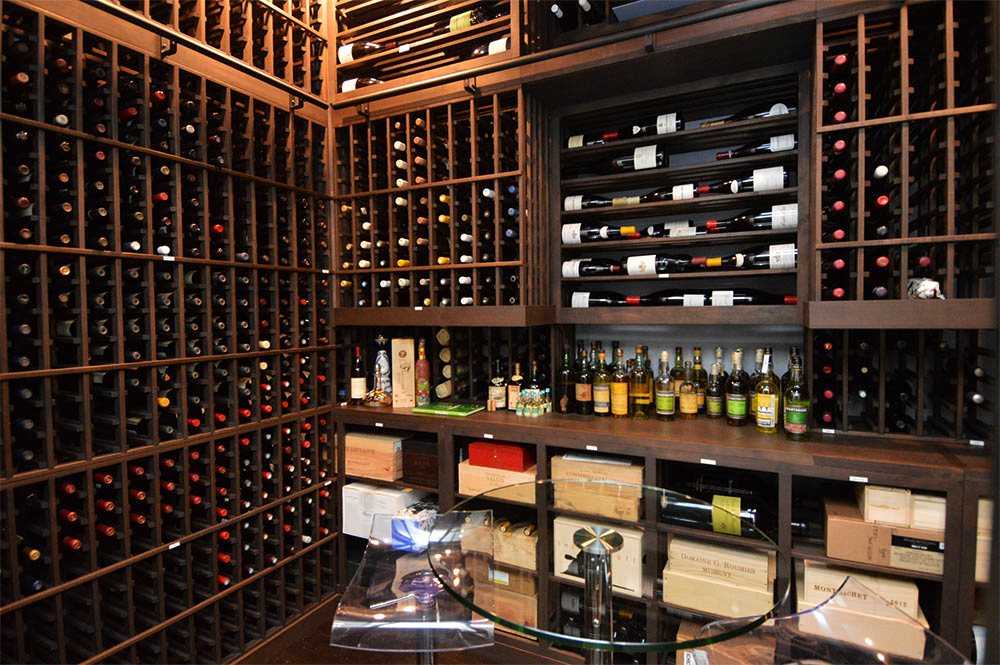 Custom Wine Cellar Cooled by a US Cellar Systems Refrigeration Unit